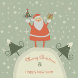 Christmas card with Santa Claus. Christmas and Happy New Year greeting card with cute Santa Claus holding christmas tree and giftbox royalty free illustration