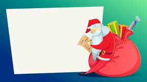 Christmas card. Santa Claus, with a huge bag of gifts, reads the letter. stock illustration