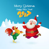 Christmas card with Santa Claus. Merry Christmas card with Santa Claus and rooster 2017. Vector illustration for your design. Old men characters. Christmas and Stock Photography