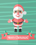 Christmas card with Santa Claus over green Royalty Free Stock Photography
