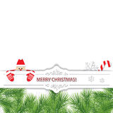 Christmas card with Santa Claus peeking out from behind a paper cut out banner. Stock Image