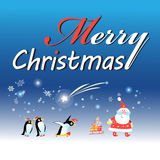 Christmas card with Santa Claus and a penguin Royalty Free Stock Photo