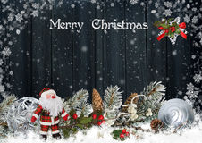 Christmas card with Santa Claus, pine branches and Christmas decorations Stock Images