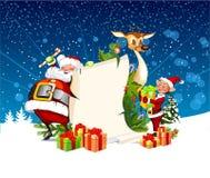 Christmas card with Santa Claus reindeer, elves. Christmas card with Santa Claus reindeer and elves Royalty Free Stock Photos
