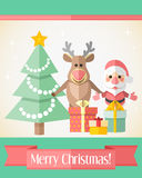 Christmas card with Santa Claus and reindeer and presents Royalty Free Stock Image