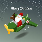 Christmas card, santa claus and reindeer rudolph in the plane stock photos