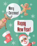 Christmas card with Santa Claus and reindeer and speech bubbles Stock Photo