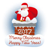 Christmas card with Santa Claus relaxing in the chimney Royalty Free Stock Image