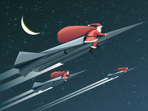 Christmas card with Santa Claus on rockets at night. Stock Images