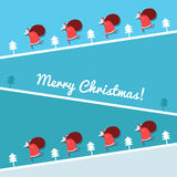 Christmas card with Santa Claus running Stock Images