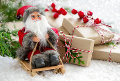 Christmas card with Santa Claus Stock Images