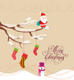 Christmas Card with Santa Claus and snowman. Christmas Background and element for design Stock Image