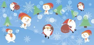 Christmas card with Santa Claus and snowman. Santa and a snowman come with gifts. Vector illustration Royalty Free Stock Photography