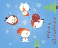 Christmas card with Santa Claus and snowman. Santa and a snowman come with gifts. Vector illustration Royalty Free Stock Photo