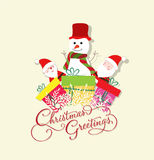 Christmas Card with Santa Claus, snowman and gift Royalty Free Stock Images