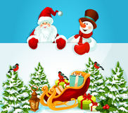 Christmas card with Santa Claus, snowman and gift Stock Images