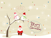Christmas Card with Santa Claus and snowmans Stock Photography