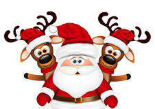 Christmas card Santa Claus and two reindeer Royalty Free Stock Photography