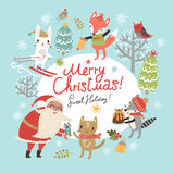 Christmas card with Santa and cute characters Stock Image