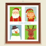 Christmas card with Santa, elf, deer and snowman Stock Photography