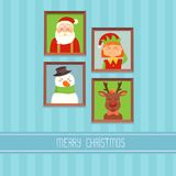 Christmas card with Santa? elf; deer and snowman Stock Images