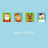 Christmas card with Santa? elf; deer and snowman Royalty Free Stock Image