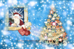 Christmas card, santa gifts leaving home Royalty Free Stock Photography