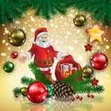 Christmas card with Santa Llaus  Royalty Free Stock Photography