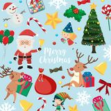 Christmas card with Santa and many items on blue background. Illustration Stock Images