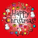 Christmas card with Santa and ornaments Royalty Free Stock Photos