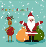 Christmas card with Santa,present and deer royalty free illustration