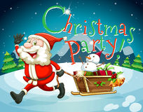 Christmas card with Santa and presents Royalty Free Stock Image