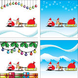 Christmas card santa and reindeer Royalty Free Stock Images