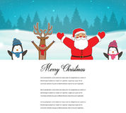 Christmas card with Santa, Reindeer, Penguins. Greeting card for winter holidays. Vector Royalty Free Stock Photography