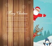 Christmas card with Santa, Reindeer, Penguins. Greeting card for winter holidays. Vector Royalty Free Stock Image