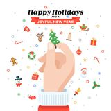 Christmas card with Santa`s hand holding fir tree. Flat design. Christmas traditional decoration elements for greeting card, banners, websites, infographics Stock Image