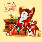 Christmas card with Santa sitting near fireplace Stock Photography