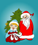 Christmas card. Santa and Snow Maiden  with gifts Royalty Free Stock Photos