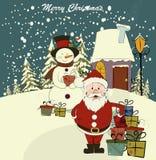 Christmas card with Santa and snowman Stock Photo