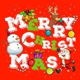 Christmas card with Santa and snowman Stock Photos