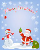 Christmas card with Santa and snowman Stock Images