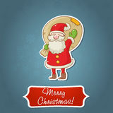 Christmas card with Santa and sticker Royalty Free Stock Photos