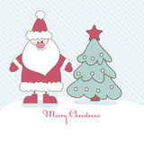 Christmas card with Santa. Vector illustration Royalty Free Stock Photos