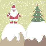 Christmas card with Santa. Vector illustration Stock Photos