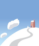 Christmas Card Scene With Snowman & Winter House Royalty Free Stock Photography
