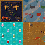 Christmas card and seamless patterns Stock Photos