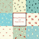 Christmas card with seamless patterns Royalty Free Stock Photography