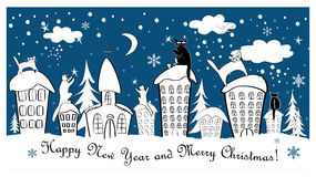 Christmas card set with fairy cats on roofs. Cute christmas card set with fairy cats on roofs. Magic background Royalty Free Stock Photo