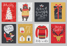 Christmas card set, hand drawn style. Royalty Free Stock Image
