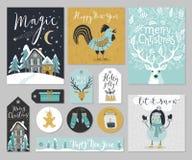 Christmas card set, hand drawn style. Vector illustration royalty free illustration